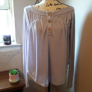 NWT FREE PEOPLE LILAC THERMAL HENLEY TOP S